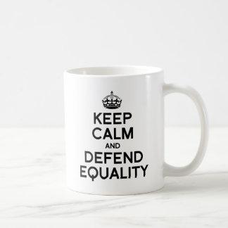 KEEP CALM AND DEFEND EQUALITY BASIC WHITE MUG