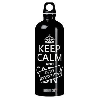 Keep Calm and Deny Everything - all colors Water Bottle
