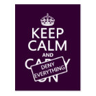 Keep Calm and Deny Everything - all colours Postcard
