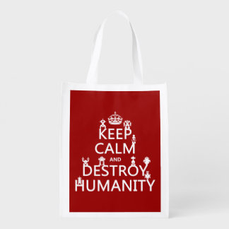 Keep Calm and Destroy Humanity (robots) Reusable Grocery Bag