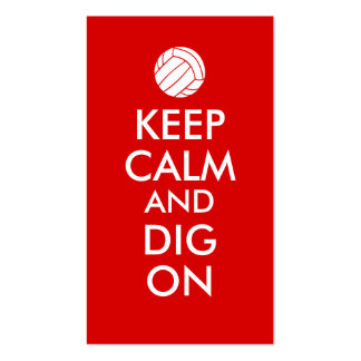 Keep Calm and Dig On Volleyball Sports Lovers Pack Of Standard Business Cards