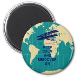 Keep Calm and Discover On motivational fun print 6 Cm Round Magnet