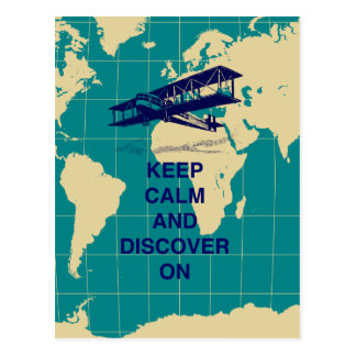 Keep Calm and Discover On motivational fun print Postcard
