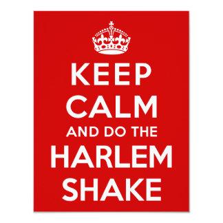 "Keep Calm and do the Harlem Shake 4.25"" X 5.5"" Invitation Card"