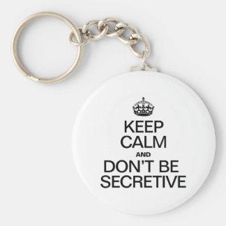 KEEP CALM AND DON'T BE SECRETIVE KEY CHAIN