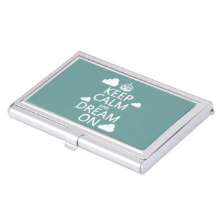 Keep Calm and Dream On (clouds) - all colors Business Card Holder