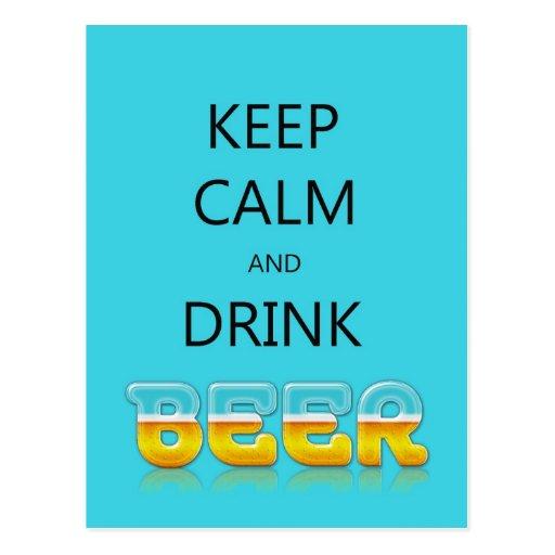 Keep calm and drink beer postcard