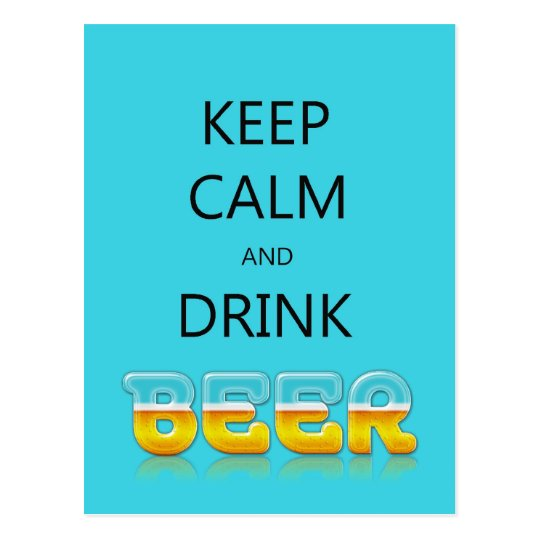 Keep calm and drink beer postcard