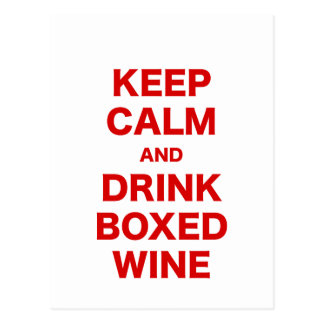 Keep Calm and Drink Boxed Wine Postcard