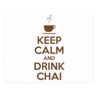 KEEP CALM AND DRINK CHAI POSTCARD
