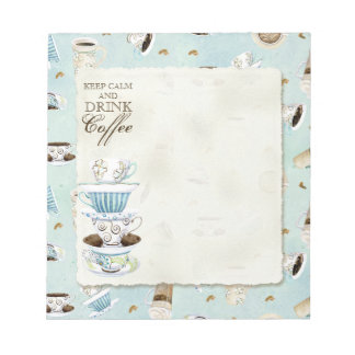Keep Calm and Drink Coffee - Stacked Coffee Cups Notepad