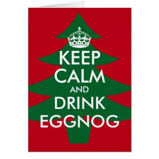 Keep calm and drink eggnog Christmas greeting card