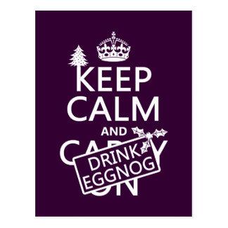 Keep Calm and Drink Eggnog (customize colors) Postcard