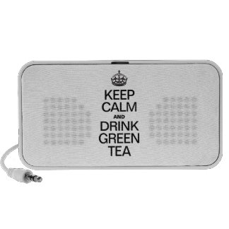 KEEP CALM AND DRINK GREEN TEA iPod SPEAKERS