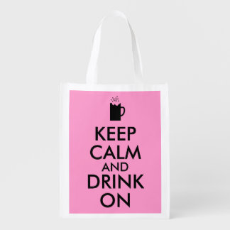 Keep Calm and Drink On Beer Soda Root Beer Lovers Grocery Bags