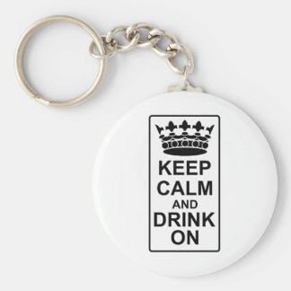 Keep Calm and Drink On - British Government Parody Basic Round Button Key Ring