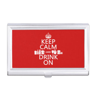 Keep Calm and Drink On (customisable colours) Business Card Holder