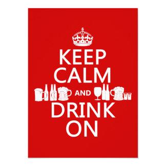 Keep Calm and Drink On (customisable colours) 14 Cm X 19 Cm Invitation Card