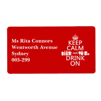 Keep Calm and Drink On (customisable colours) Shipping Label