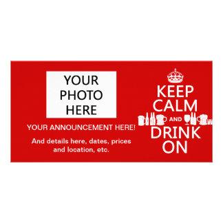 Keep Calm and Drink On (customisable colours) Custom Photo Card