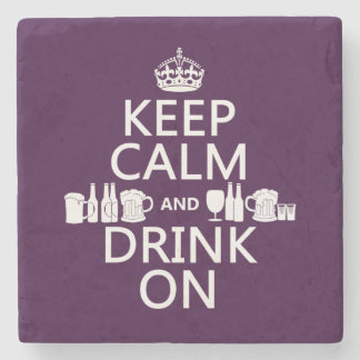 Keep Calm and Drink On (irish st patricks) Stone Beverage Coaster