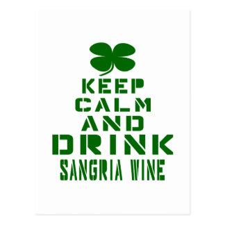 Keep Calm And Drink Sangria Wine. Postcard