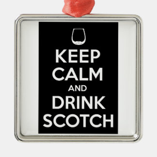 Keep Calm and Drink Scotch Silver-Colored Square Decoration