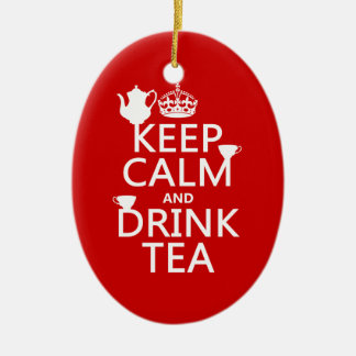 Keep Calm and Drink Tea - All Colors Ceramic Oval Decoration