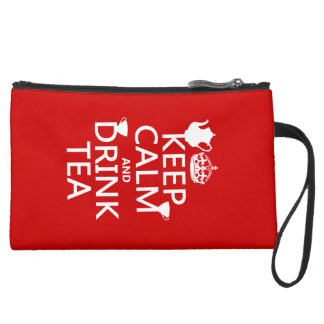 Keep Calm and Drink Tea - All Colors Suede Wristlet