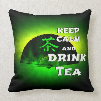 keep calm and drink tea - asia edition - green tea cushion