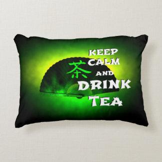 keep calm and drink tea - asia edition - green tea decorative cushion