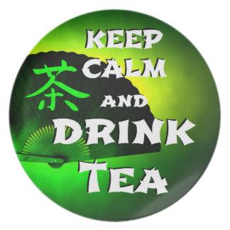 keep calm and drink tea - asia edition - green tea plate
