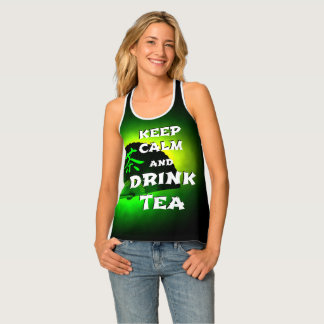 Keep calm and drink tea - green asia edition tank top