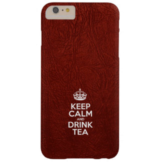 Keep Calm and Drink Tea - Red Leather Barely There iPhone 6 Plus Case