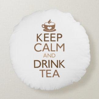 Keep Calm and Drink Tea Round Cushion