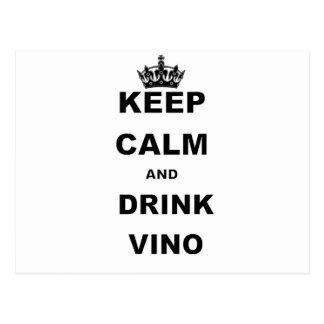 KEEP CALM AND DRINK VINO POSTCARD
