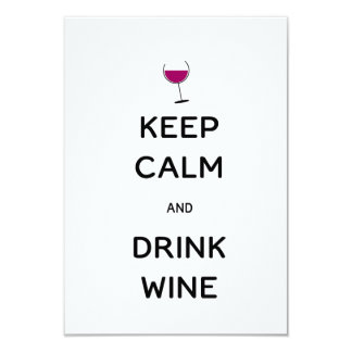 Keep Calm and Drink Wine 9 Cm X 13 Cm Invitation Card