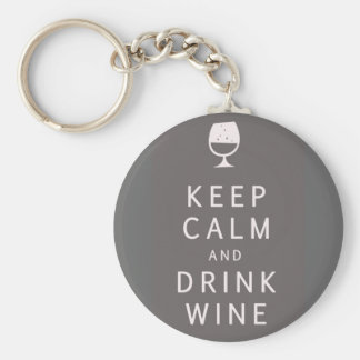 Keep Calm and Drink Wine Basic Round Button Key Ring