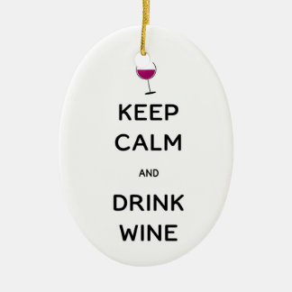 Keep Calm and Drink Wine Ceramic Oval Decoration