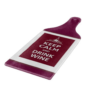"""KEEP CALM AND DRINK WINE"" CHEESE CUTTING BOARD"