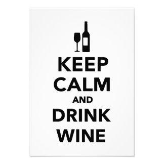Keep calm and drink Wine Custom Invites