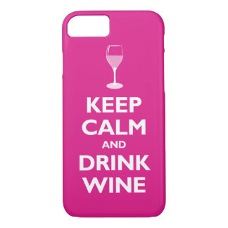 Keep Calm and Drink Wine (hot pink) iPhone 8/7 Case