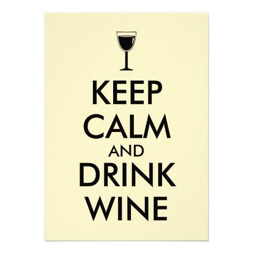 Keep Calm and Drink Wine Wine Lover Custom Custom Invite