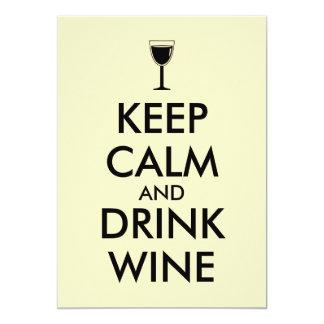 Keep Calm and Drink Wine Wine Lover Custom 13 Cm X 18 Cm Invitation Card