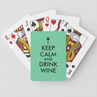 Keep Calm and Drink Wine Wine Lover Custom Playing Cards