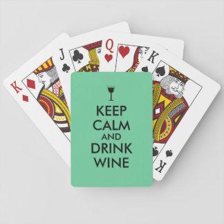 Keep Calm and Drink Wine Wine Lover Custom Poker Deck