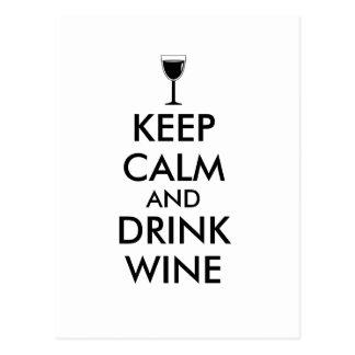 Keep Calm and Drink Wine Wine Lover Custom Postcards