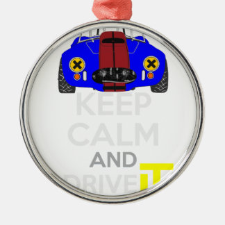 Keep Calm and Drive IT - cod. 1965Cobra427 Silver-Colored Round Decoration