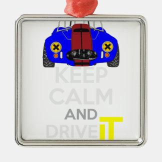 Keep Calm and Drive IT - cod. 1965Cobra427 Silver-Colored Square Decoration
