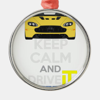 Keep Calm and Drive IT - cod. A-SVantageS Silver-Colored Round Decoration